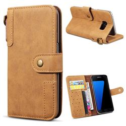 Retro Luxury Cowhide Leather Wallet Case for Samsung Galaxy S7 Edge s7edge - Brown