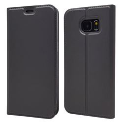 Ultra Slim Card Magnetic Automatic Suction Leather Wallet Case for Samsung Galaxy S7 Edge s7edge - Star Grey