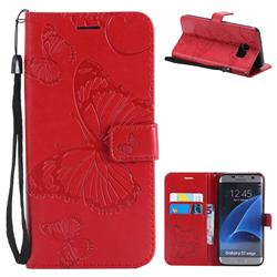 Embossing 3D Butterfly Leather Wallet Case for Samsung Galaxy S7 Edge s7edge - Red