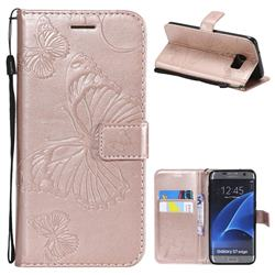 Embossing 3D Butterfly Leather Wallet Case for Samsung Galaxy S7 Edge s7edge - Rose Gold