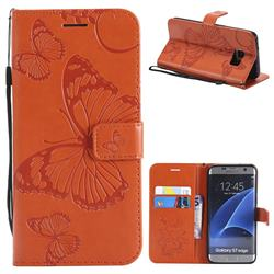 Embossing 3D Butterfly Leather Wallet Case for Samsung Galaxy S7 Edge s7edge - Orange