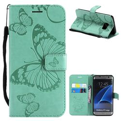 Embossing 3D Butterfly Leather Wallet Case for Samsung Galaxy S7 Edge s7edge - Green