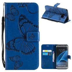 Embossing 3D Butterfly Leather Wallet Case for Samsung Galaxy S7 Edge s7edge - Blue