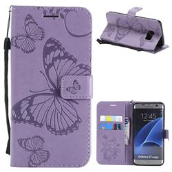 Embossing 3D Butterfly Leather Wallet Case for Samsung Galaxy S7 Edge s7edge - Purple