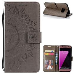 Intricate Embossing Datura Leather Wallet Case for Samsung Galaxy S7 Edge s7edge - Gray