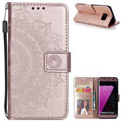 Intricate Embossing Datura Leather Wallet Case for Samsung Galaxy S7 Edge s7edge - Rose Gold