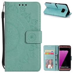 Intricate Embossing Datura Leather Wallet Case for Samsung Galaxy S7 Edge s7edge - Mint Green