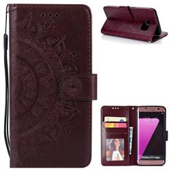 Intricate Embossing Datura Leather Wallet Case for Samsung Galaxy S7 Edge s7edge - Brown