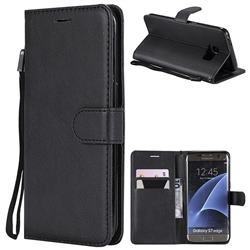 Retro Greek Classic Smooth PU Leather Wallet Phone Case for Samsung Galaxy S7 Edge s7edge - Black