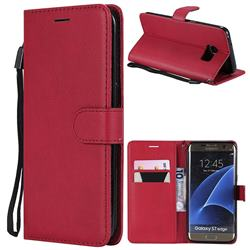 Retro Greek Classic Smooth PU Leather Wallet Phone Case for Samsung Galaxy S7 Edge s7edge - Red