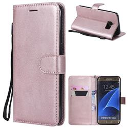 Retro Greek Classic Smooth PU Leather Wallet Phone Case for Samsung Galaxy S7 Edge s7edge - Rose Gold