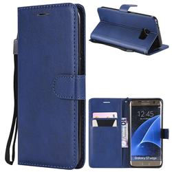 Retro Greek Classic Smooth PU Leather Wallet Phone Case for Samsung Galaxy S7 Edge s7edge - Blue