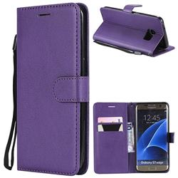 Retro Greek Classic Smooth PU Leather Wallet Phone Case for Samsung Galaxy S7 Edge s7edge - Purple