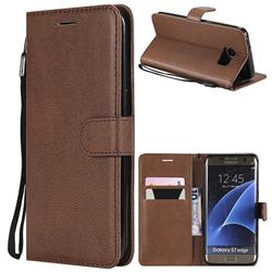 Retro Greek Classic Smooth PU Leather Wallet Phone Case for Samsung Galaxy S7 Edge s7edge - Brown