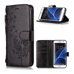 Intricate Embossing Dandelion Butterfly Leather Wallet Case for Samsung Galaxy S7 Edge s7edge - Black