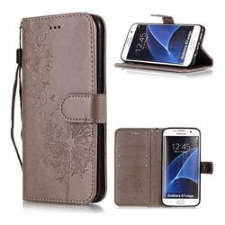 Intricate Embossing Dandelion Butterfly Leather Wallet Case for Samsung Galaxy S7 Edge s7edge - Gray