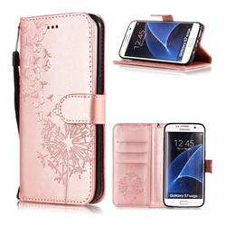 Intricate Embossing Dandelion Butterfly Leather Wallet Case for Samsung Galaxy S7 Edge s7edge - Rose Gold
