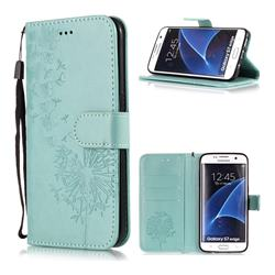 Intricate Embossing Dandelion Butterfly Leather Wallet Case for Samsung Galaxy S7 Edge s7edge - Green