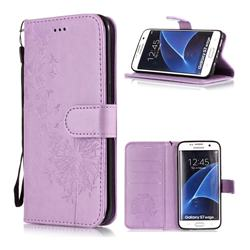 Intricate Embossing Dandelion Butterfly Leather Wallet Case for Samsung Galaxy S7 Edge s7edge - Purple