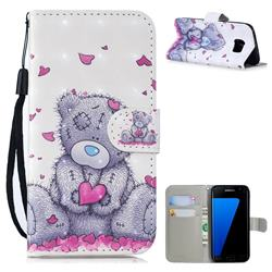 Love Panda 3D Painted Leather Wallet Phone Case for Samsung Galaxy S7 Edge s7edge