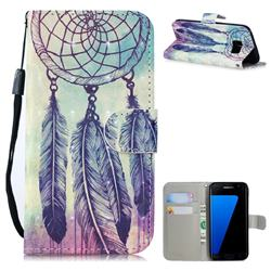 Feather Wind Chimes 3D Painted Leather Wallet Phone Case for Samsung Galaxy S7 Edge s7edge