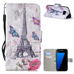 Paris Tower 3D Painted Leather Wallet Phone Case for Samsung Galaxy S7 Edge s7edge