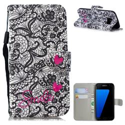 Lace Flower 3D Painted Leather Wallet Phone Case for Samsung Galaxy S7 Edge s7edge