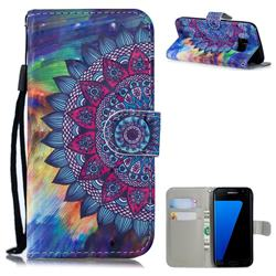 Oil Painting Mandala 3D Painted Leather Wallet Phone Case for Samsung Galaxy S7 Edge s7edge