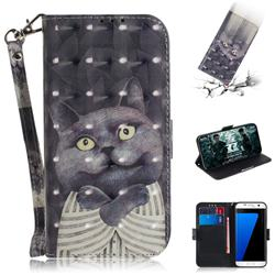 Cat Embrace 3D Painted Leather Wallet Phone Case for Samsung Galaxy S7 Edge s7edge