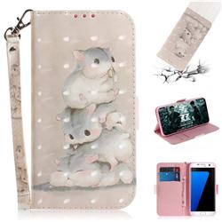 Three Squirrels 3D Painted Leather Wallet Phone Case for Samsung Galaxy S7 Edge s7edge