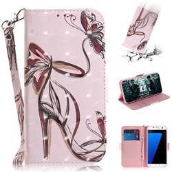 Butterfly High Heels 3D Painted Leather Wallet Phone Case for Samsung Galaxy S7 Edge s7edge