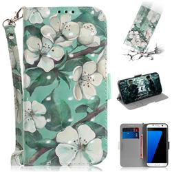 Watercolor Flower 3D Painted Leather Wallet Phone Case for Samsung Galaxy S7 Edge s7edge