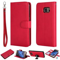 Retro Greek Detachable Magnetic PU Leather Wallet Phone Case for Samsung Galaxy S7 Edge s7edge - Red