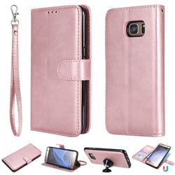 Retro Greek Detachable Magnetic PU Leather Wallet Phone Case for Samsung Galaxy S7 Edge s7edge - Rose Gold