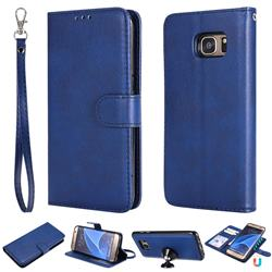 Retro Greek Detachable Magnetic PU Leather Wallet Phone Case for Samsung Galaxy S7 Edge s7edge - Blue