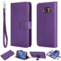 Retro Greek Detachable Magnetic PU Leather Wallet Phone Case for Samsung Galaxy S7 Edge s7edge - Purple