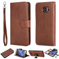 Retro Greek Detachable Magnetic PU Leather Wallet Phone Case for Samsung Galaxy S7 Edge s7edge - Brown