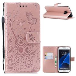 Intricate Embossing Butterfly Circle Leather Wallet Case for Samsung Galaxy S7 Edge s7edge - Rose Gold