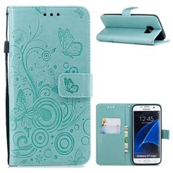 Intricate Embossing Butterfly Circle Leather Wallet Case for Samsung Galaxy S7 Edge s7edge - Cyan