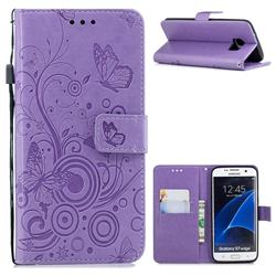 Intricate Embossing Butterfly Circle Leather Wallet Case for Samsung Galaxy S7 Edge s7edge - Purple