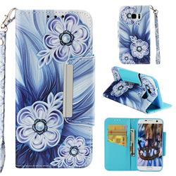 Button Flower Big Metal Buckle PU Leather Wallet Phone Case for Samsung Galaxy S7 Edge s7edge