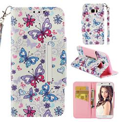 Colored Butterfly Big Metal Buckle PU Leather Wallet Phone Case for Samsung Galaxy S7 Edge s7edge