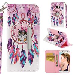 Owl Wind Chimes Big Metal Buckle PU Leather Wallet Phone Case for Samsung Galaxy S7 Edge s7edge