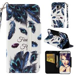 Peacock Feather Big Metal Buckle PU Leather Wallet Phone Case for Samsung Galaxy S7 Edge s7edge