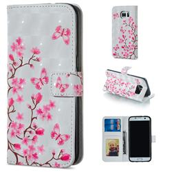 Butterfly Sakura Flower 3D Painted Leather Phone Wallet Case for Samsung Galaxy S7 Edge s7edge
