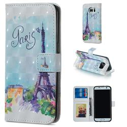 Paris Tower 3D Painted Leather Phone Wallet Case for Samsung Galaxy S7 Edge s7edge