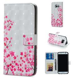 Cherry Blossom 3D Painted Leather Phone Wallet Case for Samsung Galaxy S7 Edge s7edge