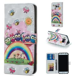 Rainbow Owl Family 3D Painted Leather Phone Wallet Case for Samsung Galaxy S7 Edge s7edge