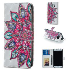 Mandara Flower 3D Painted Leather Phone Wallet Case for Samsung Galaxy S7 Edge s7edge