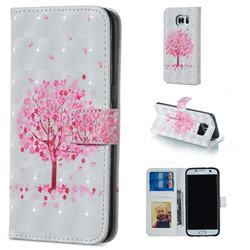 Sakura Flower Tree 3D Painted Leather Phone Wallet Case for Samsung Galaxy S7 Edge s7edge